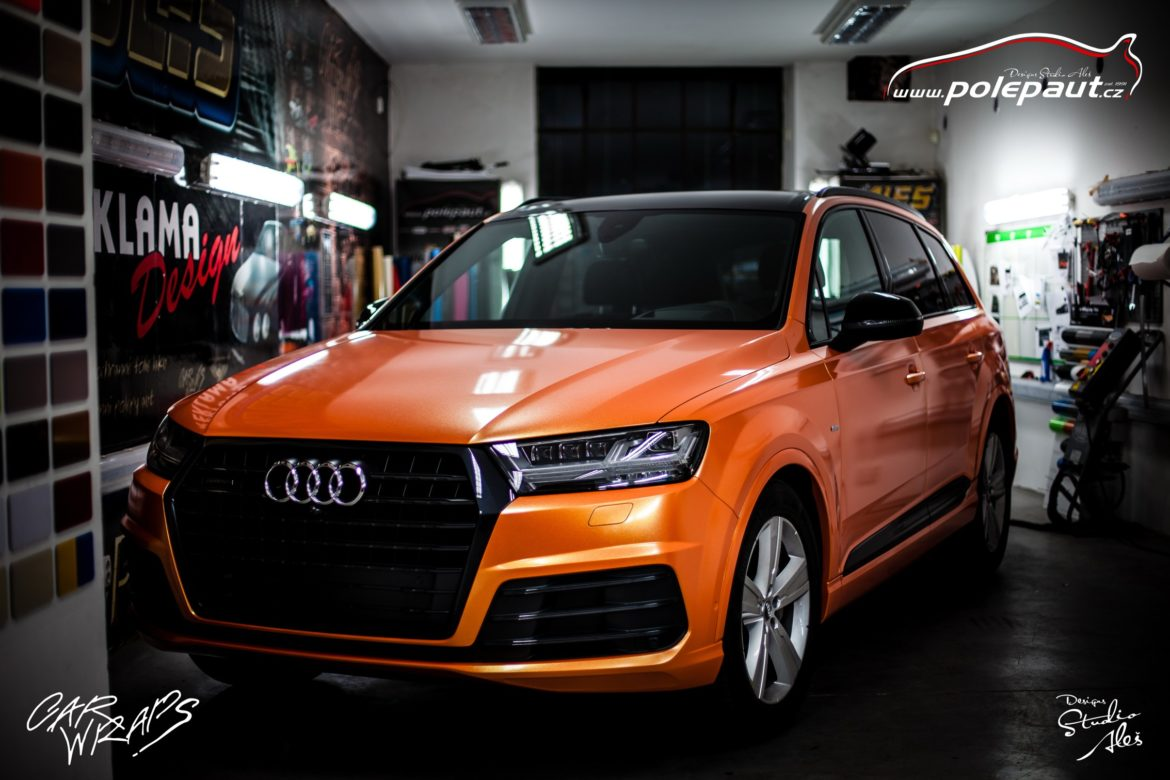 studio ales polep aut car wrap design celopolep audi Q7 KPMF orange gold starlight