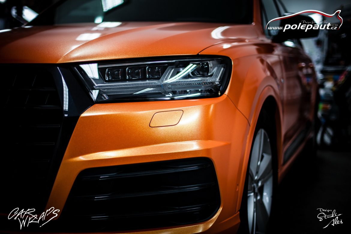studio ales polep aut car wrap design celopolep audi Q7 KPMF orange gold starlight (2)