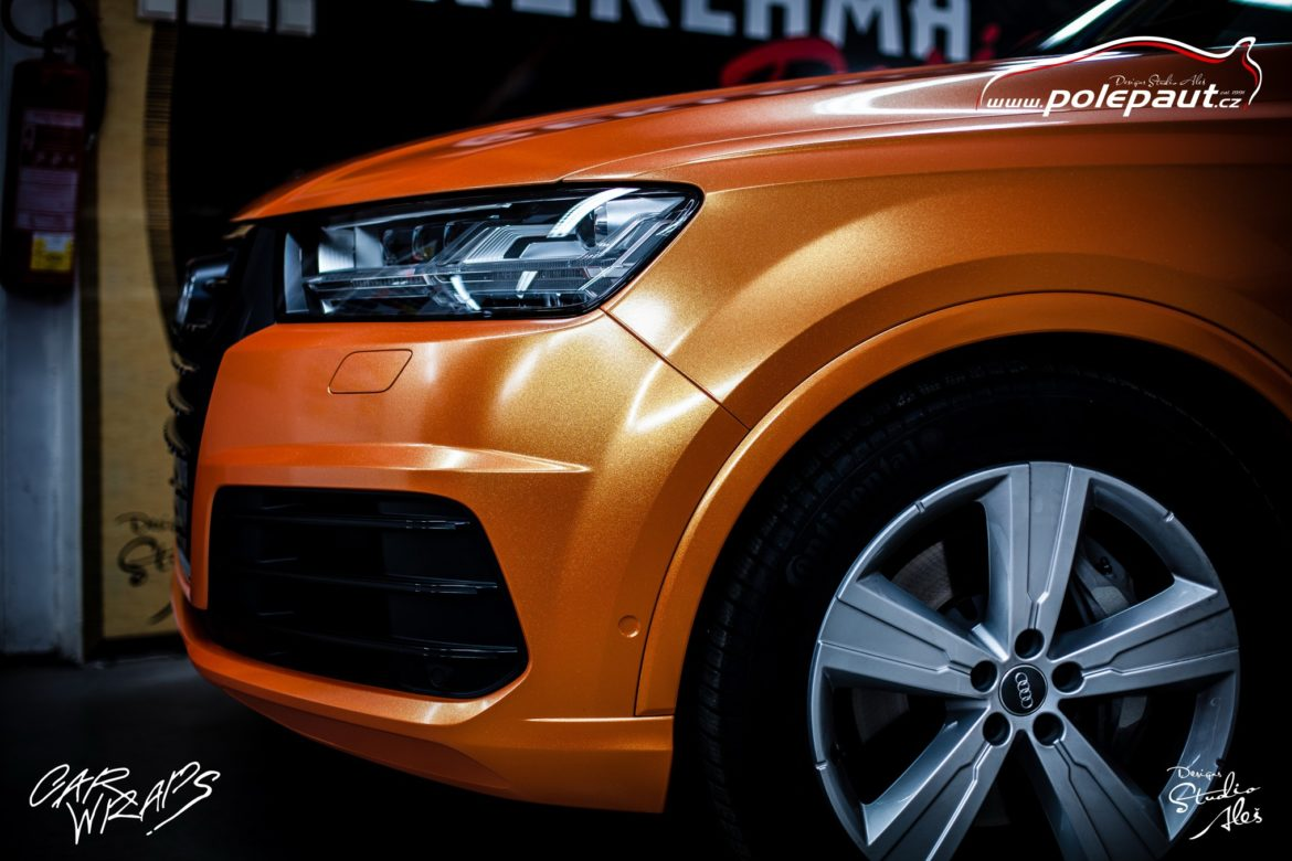 studio ales polep aut car wrap design celopolep audi Q7 KPMF orange gold starlight (5)