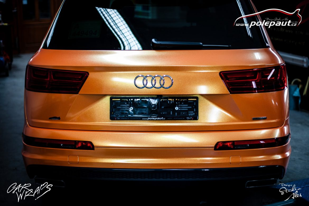 studio ales polep aut car wrap design celopolep audi Q7 KPMF orange gold starlight (7)