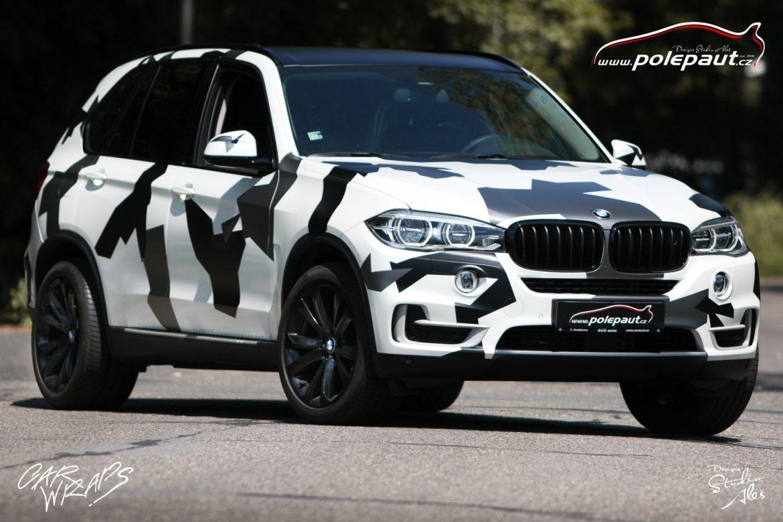 studio ales car wrap polep aut celopolep vinyl wrap bmw X5 camouflage and paint protection
