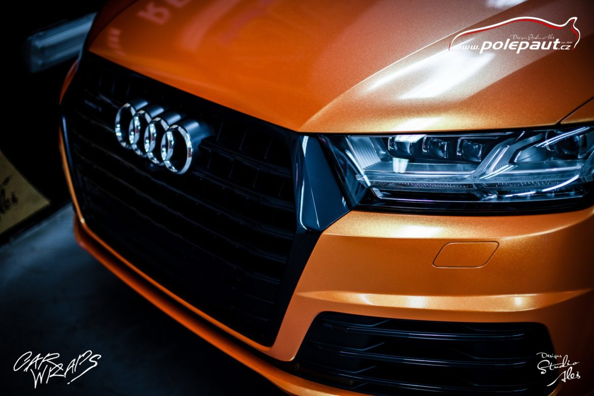 studio ales polep aut car wrap design celopolep audi Q7 KPMF orange gold starlight (3)