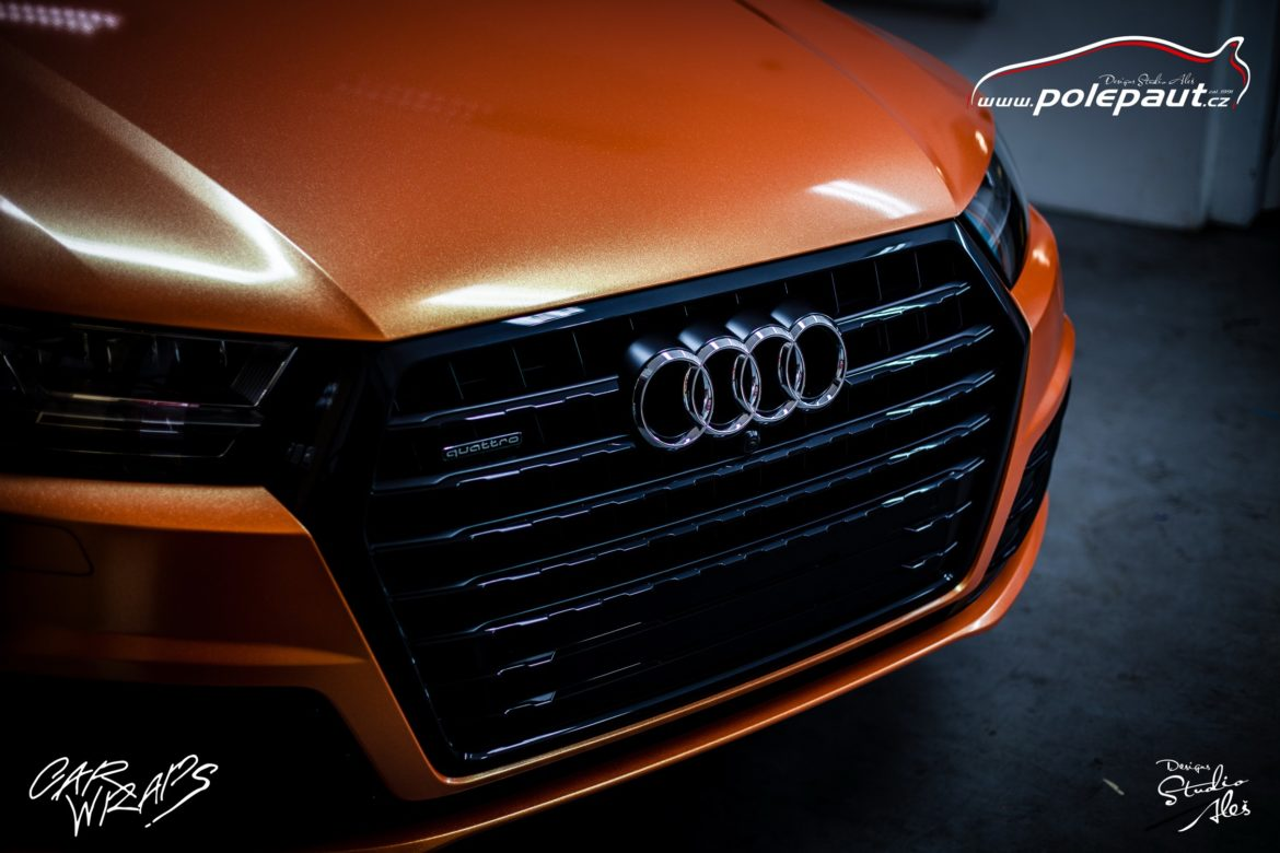 studio ales polep aut car wrap design celopolep audi Q7 KPMF orange gold starlight (4)