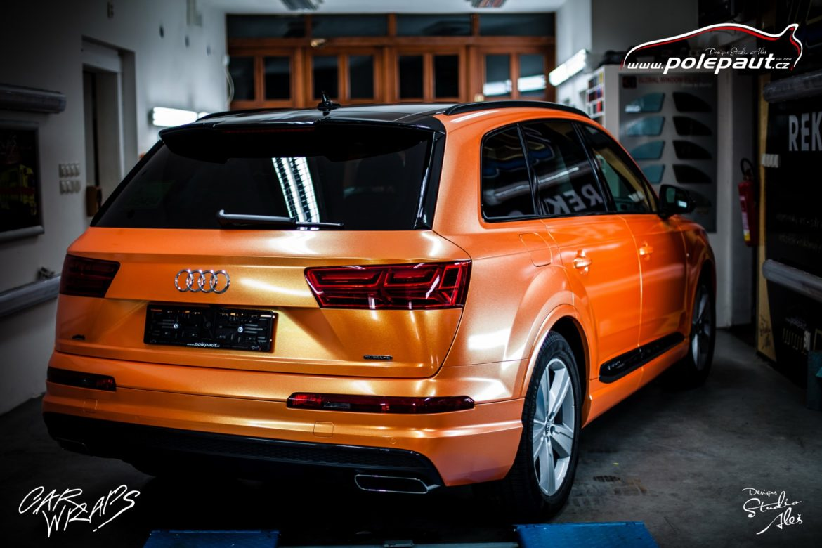 studio ales polep aut car wrap design celopolep audi Q7 KPMF orange gold starlight (6)