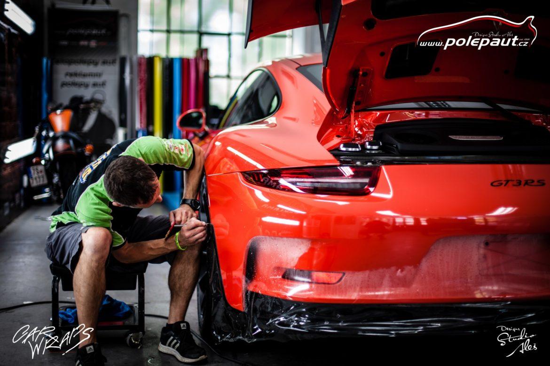 studio ales polep aut car wrap design stoneprotect porsche gt3 orange